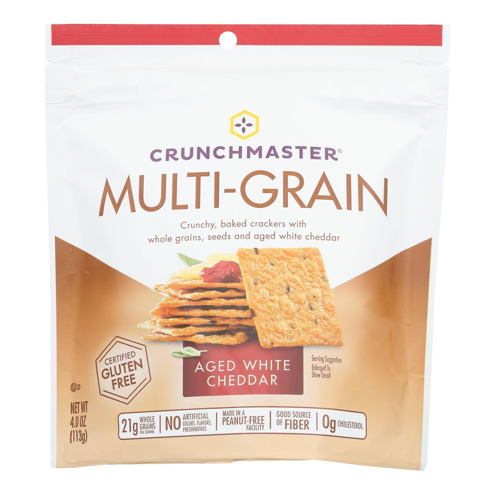 Crunchmaster Crackers, Multi-Grain, Aged White Cheddar - 4.0 oz