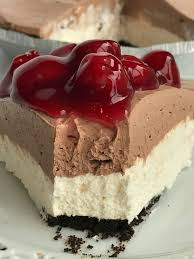 Black forest cheesecake pie is no bake and can be made in just minutes Ready