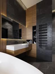 wc wie hotel mit holz und dunklen fliesen dekoriert