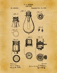patent 1890 edison light bulb base print poster wall