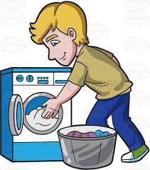 A Man Places The Clothes In The Washing Machine Cartoon Clipart