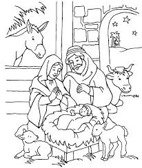 Nativity Scenery Of In Jesus Christ Coloring Page