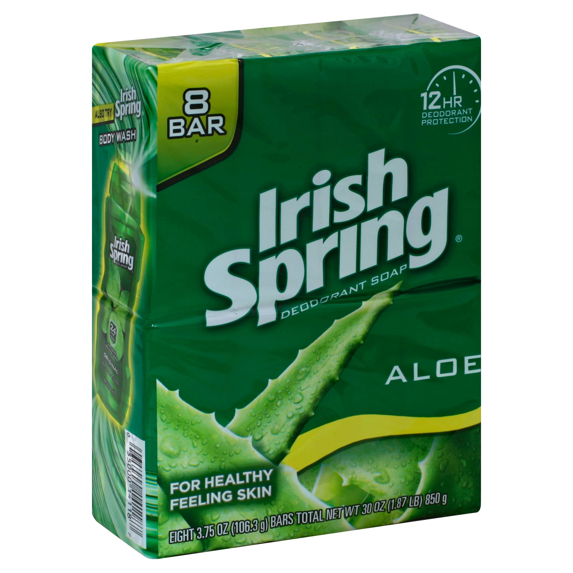 Irish Spring Aloe Deodorant Soap Bar - 3.75 oz, 8 Pack
