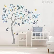 Large Tree Stencil From The Studio Includes Leaves And Birds