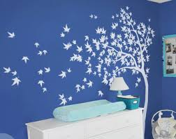 Wall Mural Decals Nature by Tall Skinny Trees With Branches And Leaves Floor To Ceiling