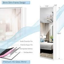 luxfurni schmuckschrank mit spiegel wandmontage tür hängend abschließbar organizer mit schubladen weiss