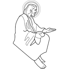Jesus Sitting With Bread Coloring Page