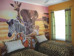 Wild Animal Wallpaper Featuring Tiger Skin Duvet Covers And Jungle Kids Bedroom Decoration