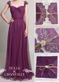 Eggplant Tulle Bridesmaid Dresses And Rustic Vintage Wedding Invitations