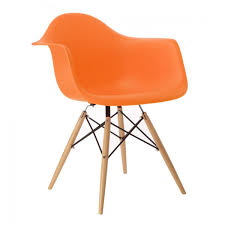 Eames Style DAW Molded Orange Plastic Dining Armchair With Wood ... Eames Plastic Armchair Daw 3d Cgtrader Replica Chair Ding Chairs Nick Scali Online Style Dark Gray With Wood Eiffel Charles Ray Office Upholstered Grey Cult Uk Armchair Model White And Dowel Light Buy The Vitra Utility Dowel Kids Vetrohome Modern Fniture