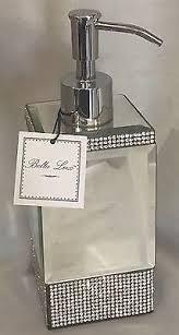Bella Lux Mirror Rhinestone Bathroom Accessories by Bella Lux Mirror Rhinestone Crystal Soap Pump Dispenser Vanity