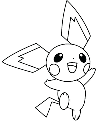 Pichu Coloring Pages Happy Jumping Around Page Print