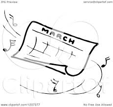 Clipart of a Vintage Black and White March Calendar with Music