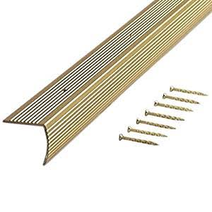 "M-D Building Products Fluted Stair Edging - Satin Brass, 1 1/8"" x 1 1/8"" x 72"""