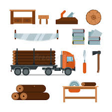 Download Lumberjack Woodworking Tools Icons Vector Illustration Stock