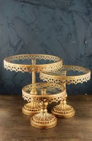 3 Gold Metal Glass Cake Stands