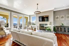 Living Room With Fireplace by Bright Luxury Living Room With Fireplace And Tv Corner Decorated