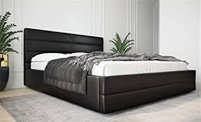 mg home polsterbett möbel bett schlafzimmer doppelbett mit kopfteil holzrahmen bettkasten lattenroste caruso schwarzes kunstleder 200 x 200 cm