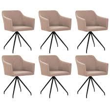 vidaxl esszimmerstühle drehbar 6 stk taupe stoff gitoparts