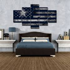 Dallas Cowboys Home Decor by Dallas Cowboy American Flag Home Decor Wall Art Football Canvas
