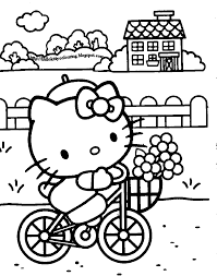 Bike Hello Kitty Coloring Pages