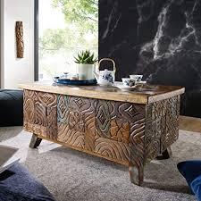 wohnling couchtisch carved 100x49x60cm massivholz vintage