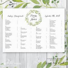 printable wedding seating chart watercolour spring green wreath