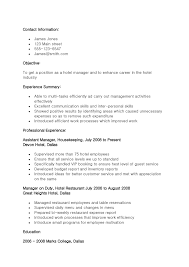 Sample Resume Objectives For Hotel And Restaurant Management Save Hospitality