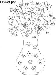 Drawn Flowers In A Container Flower Pot Coloring Pages