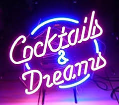 new cocktails and dreams glass logo neon light sign home bar