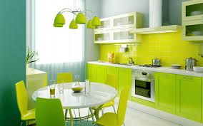 Charming Fresh Lime Green Kitchen Ideas With Round White Dining Table Over Cone Hanging Lamp Plus Wall Mount Range Hood