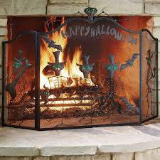 Halloween Mantel Scarf by The Halloween Fireplace Screen Hammacher Schlemmer