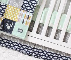woodlands crib bedding navy deer grey arrow mustard tee