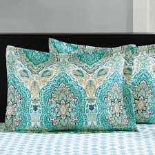 Bedding Seaglass Paisley 8 Pc forter Bed Set Bedding Sets Queen