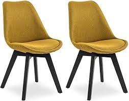 salesfever esszimmerstuhl cleo 2er set bezug stoff in curry gelb knopfsteppung polsterstuhl in modernen farben schwarze beine aus buche
