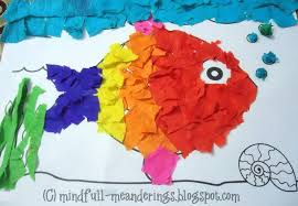 Rainbow Fish Crepe Paper Collage Art