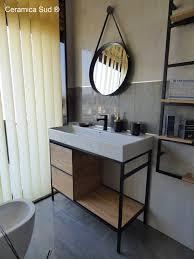 badmöbel 100cm minimalistisches schwarzes metall mit porzellan keramikspüle