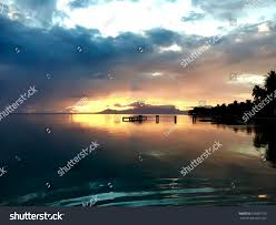 beautiful view on moorea during sunset stock photo 635897159