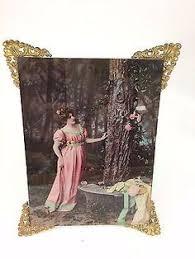Antique Ullman Victorian 1899 Landscape Color Reverse Glass Print Orig Frame Realism