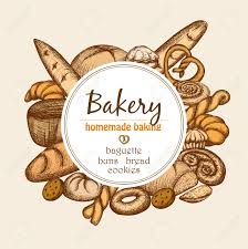 Vintage bakery frame with hand drawn pastry and bread set vector illustration Stock Vector