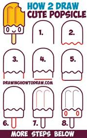 How to Draw Cute Kawaii Popsicle Creamsicle with Face on It Easy Step by Step Drawing Tutorial for Kids Step Drawing Doodles