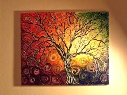 Simple Paintings On Canvas Tree Swing Modern Folk Art