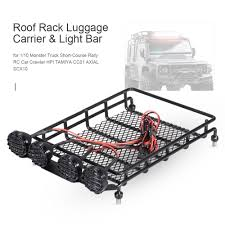 Roof Rack Luggage Carrier & Light Bar Led Lamp For 1/10 RC Car Truck ...