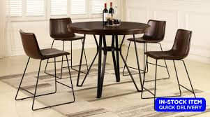 Contemporary And Cool This Marvelous 5 Piece Pub Set Is A Must For Your Modern House Crafted Of Solid Hardwood Dining Table Comes Complete With