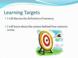 Define The Term Decorous by Learning Targets I Will Discuss The Definition Of Memory I Will