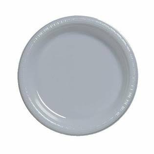 Creative Converting Touch of Color Plastic Lunch Plates - Shimmering Silver, 20ct, 7""