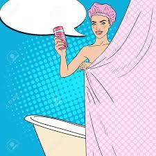 hübsche frau im badezimmer mit duschgel hautpflege pop vektor illustration