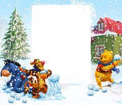 Winnie The Pooh Winter PNG Kids Frame