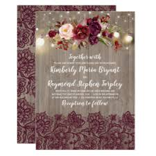 Burgundy Floral Lace Rustic Wedding Card