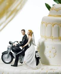 Motorcycle Get Away Wedding Couple Figurine